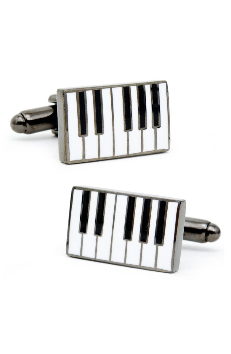 CUFFLINKS, INC. Enamel Piano Cuff Lnks, Main, color, WHITE