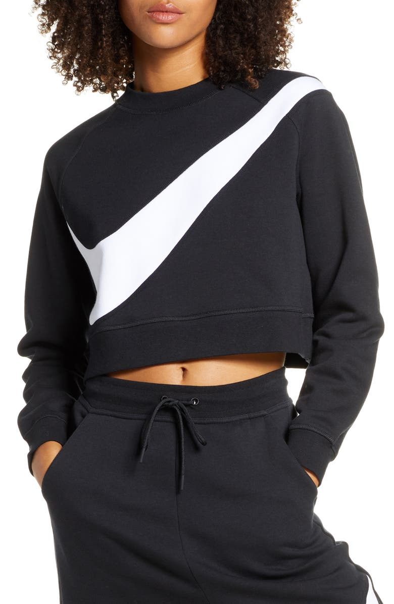 NIKE Sportswear Swoosh Cropped Crewneck Sweatshirt, Main, color, BLACK/ WHITE