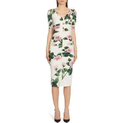 Dolce & gabbana Rose Print Ruched Sheath Dress, US / 48 IT - White