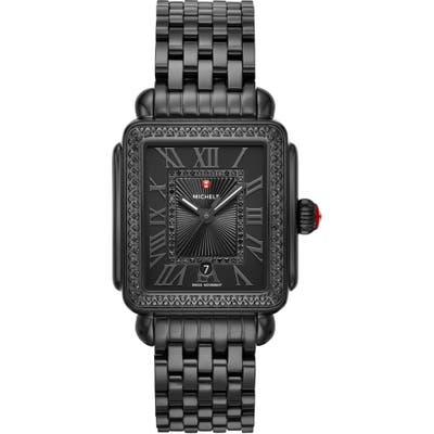 Michele Deco Madison Noir Diamond Dial Watch Head & Bracelet, 3m
