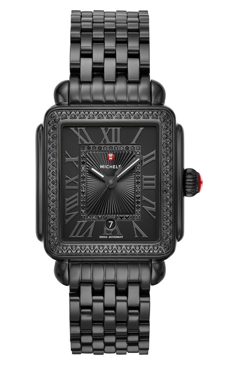 MICHELE Deco Madison Noir Diamond Dial Watch Head & Bracelet, 33mm, Main, color, BLACK