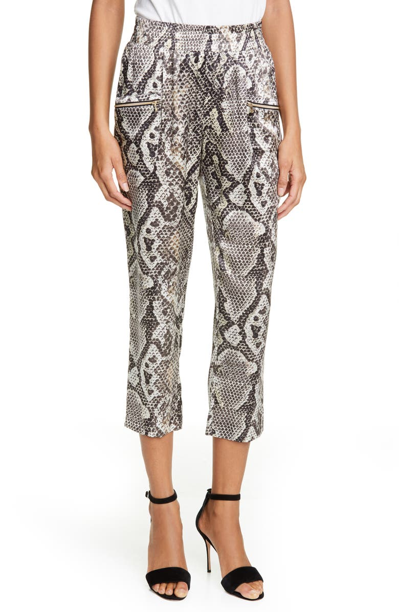 L'AGENCE Leigh Snake Print Drapey Silk Pants, Main, color, NATURAL MULTI PYTHON