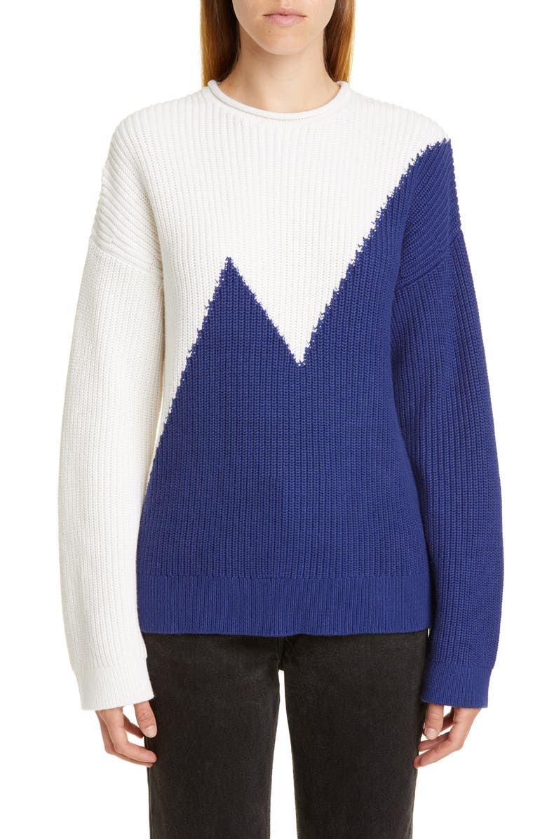 VICTOR GLEMAUD Colorblock Cotton & Cashmere Sweater, Main, color, BLUE AND WHITE COMBO