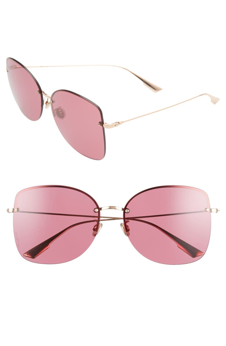 DIOR Stell 62mm Special Fit Oversize Rimless Sunglasses, Main, color, GOLD COPP/ RED