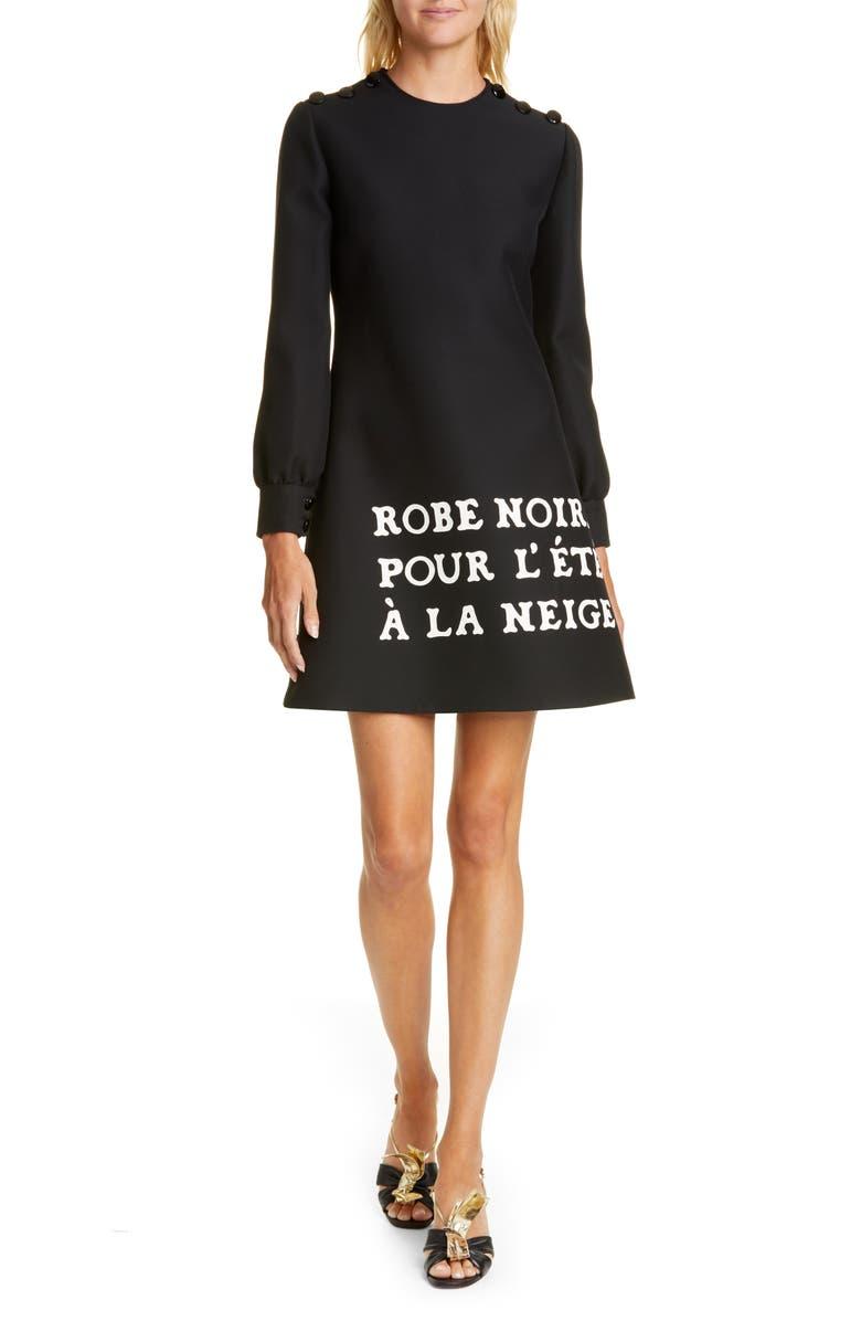 GUCCI Print Long Sleeve Crepe Cady Dress, Main, color, BLACK/ MULTICOLOR