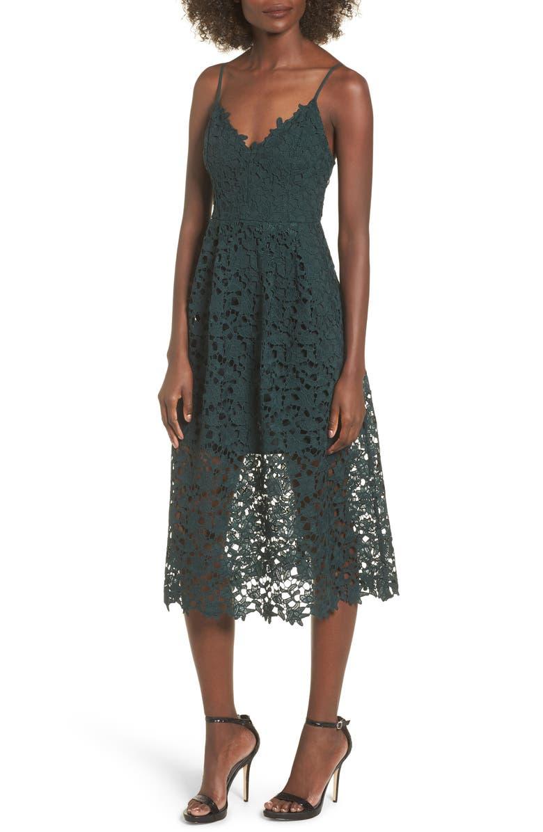 ASTR THE LABEL Lace Midi Dress, Main, color, HUNTER GREEN