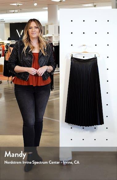 Pleated Faux Leather Midi Skirt, sales video thumbnail