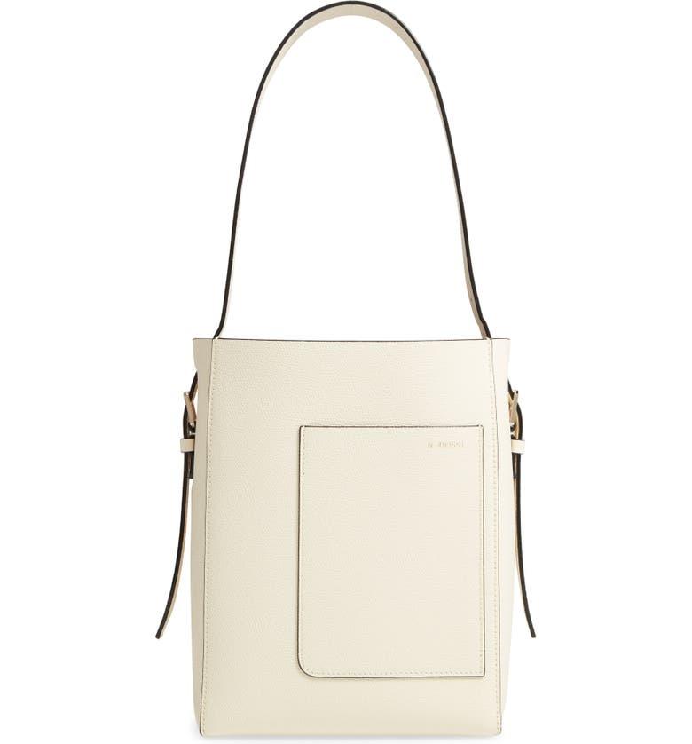 VALEXTRA Secchiello Small Leather Hobo Bag, Main, color, WHITE