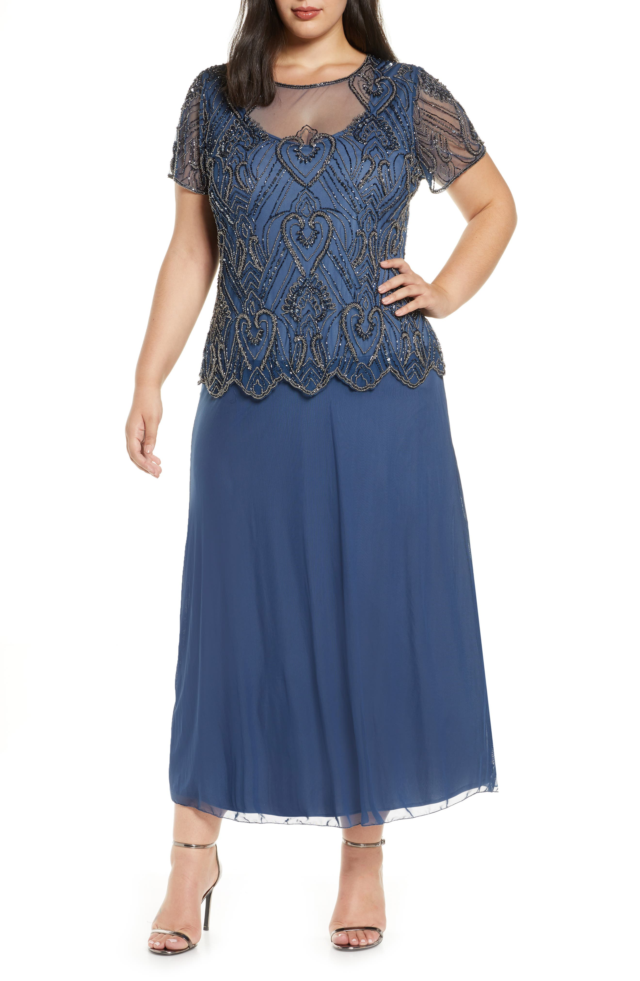 1920s Plus Size Flapper Dresses, Gatsby Dresses, Flapper Costumes Plus Size Womens Pisarro Nights Embellished Mesh Mock Two-Piece Gown Size 22W - Blue $248.00 AT vintagedancer.com