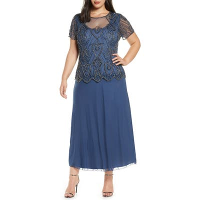 Plus Size Pisarro Nights Embellished Mesh Mock Two-Piece Gown