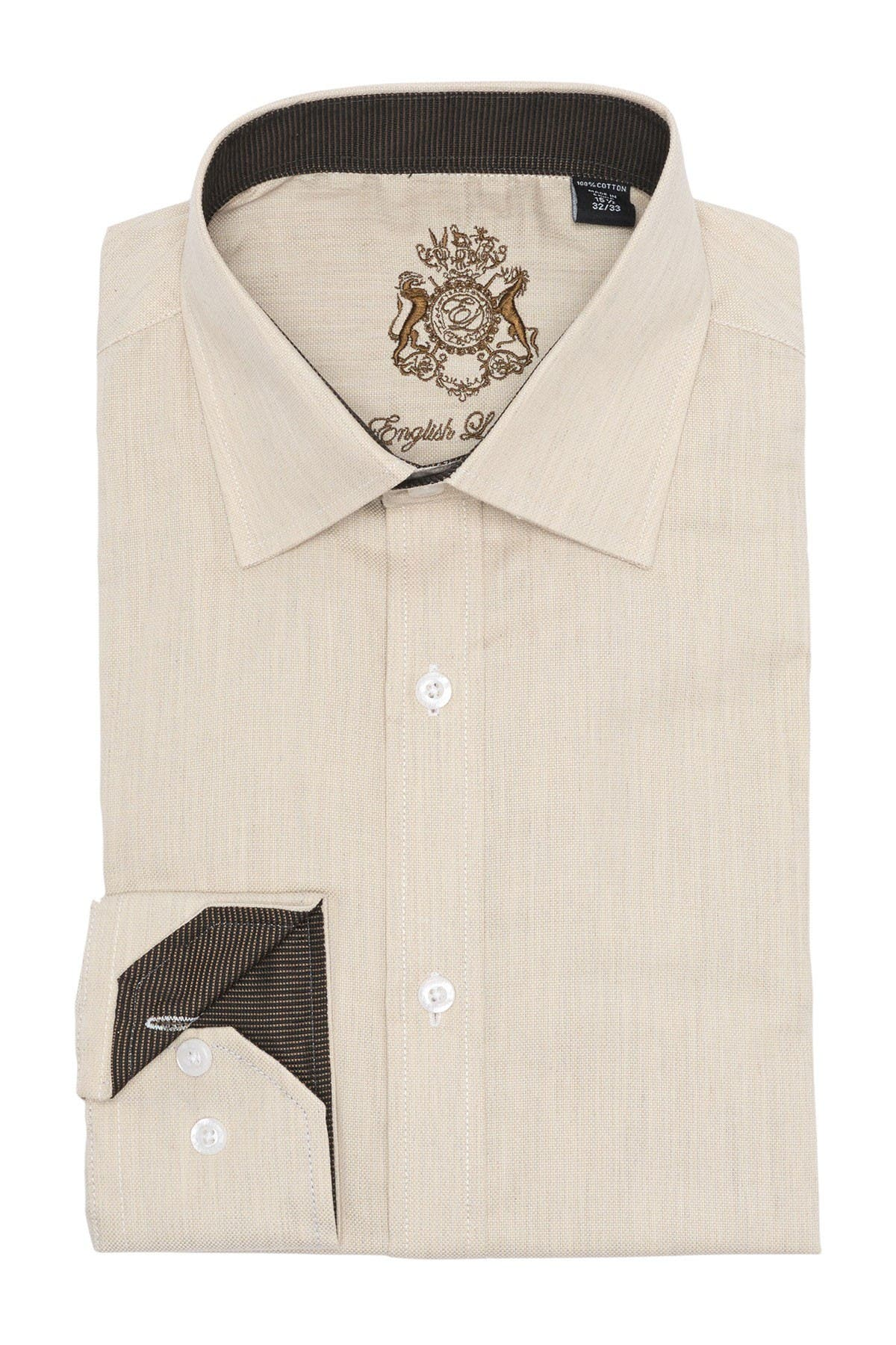 Image of English Laundry Regular Fit Textured Solid Dress Shirt