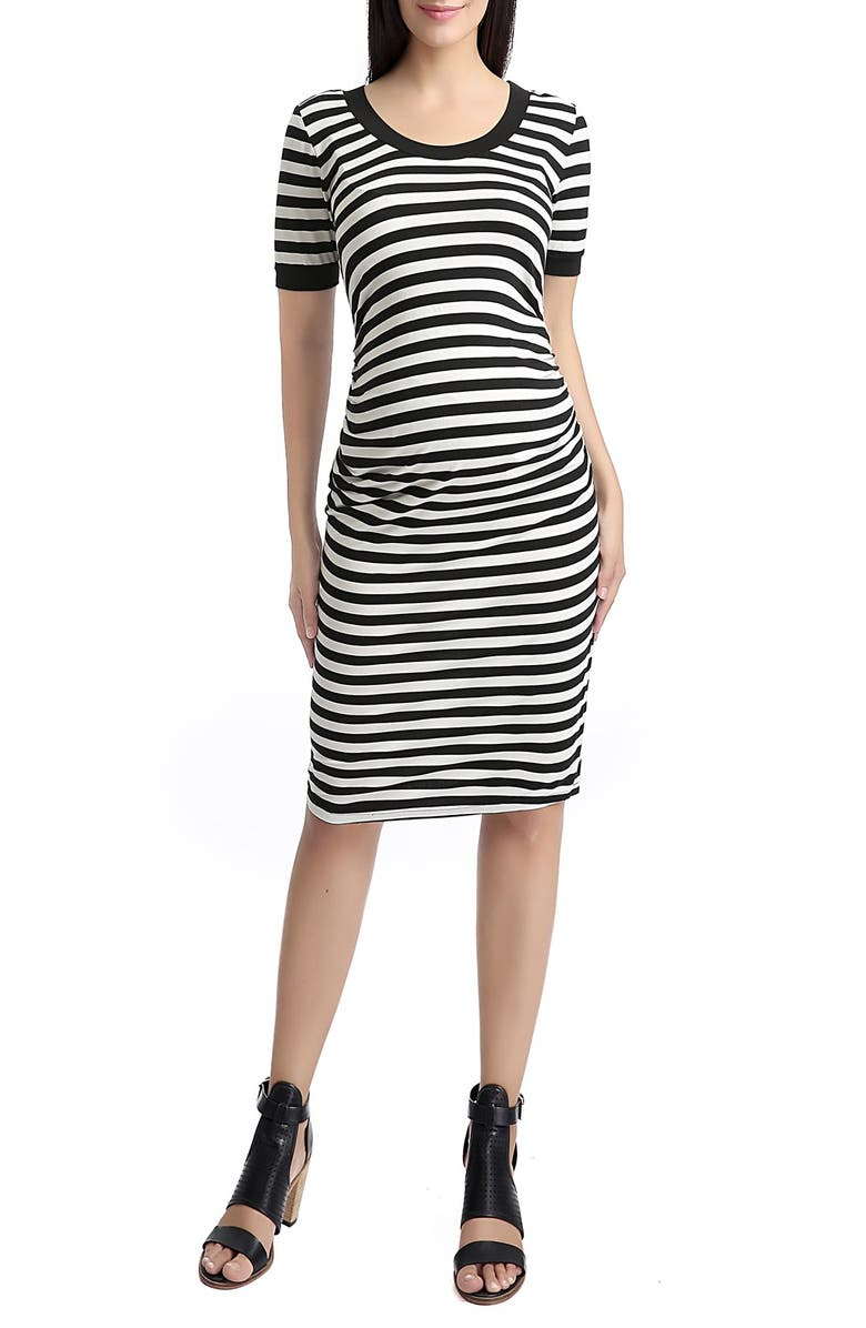 KIMI AND KAI 'Bryn' Stripe Maternity T-Shirt Dress, Main, color, 002