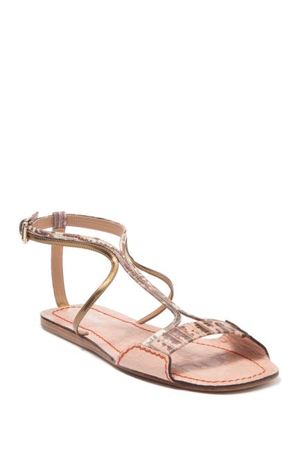 Image of Chloe Carla Snake Embossed Leather Flat Sandal
