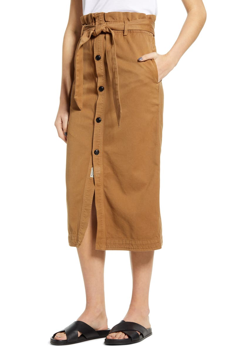 SCOTCH & SODA High Paperbag Waist Button Front Midi Skirt, Main, color, 200