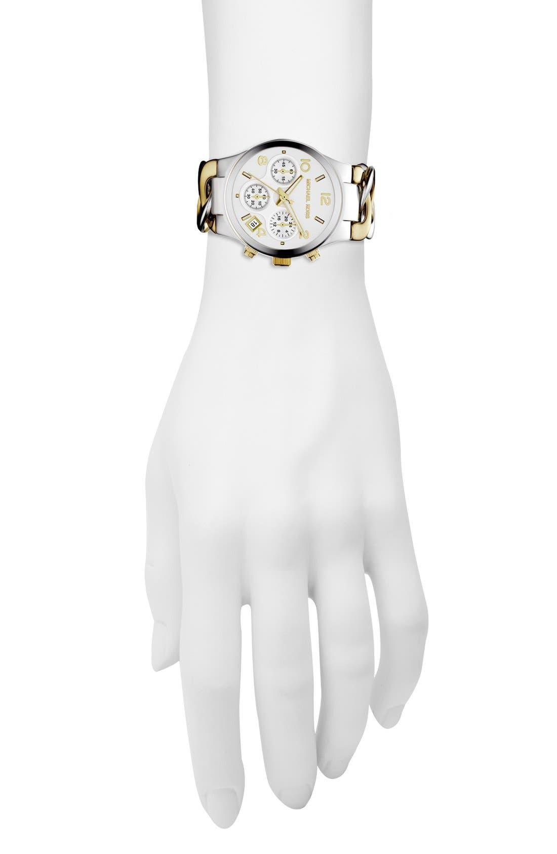 ,                             Michael Kors Chain Bracelet Chronograph Watch, 38mm,                             Alternate thumbnail 3, color,                             040