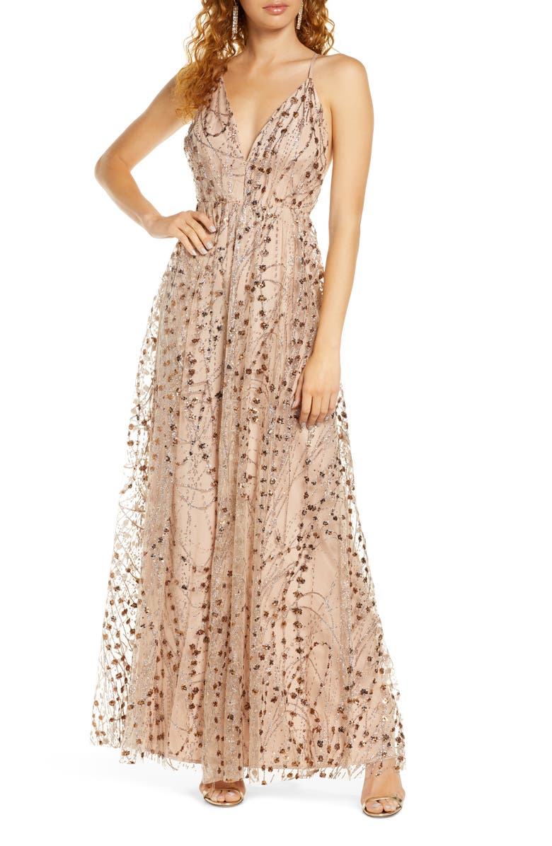 LULUS Embellished Mesh Open Back Gown, Main, color, TAUPE