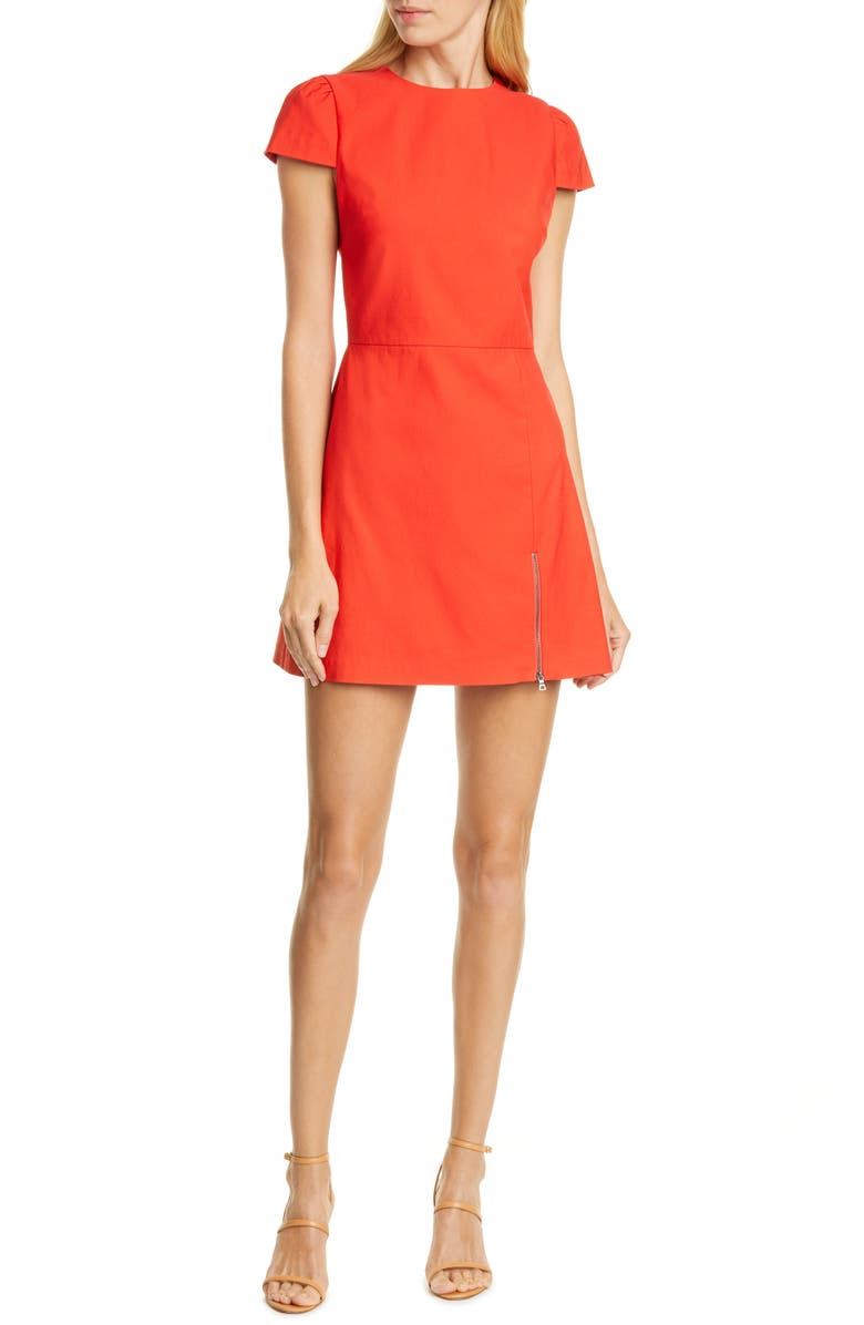 ALICE + OLIVIA Maya Exposed Zip Minidress, Main, color, CHERRY