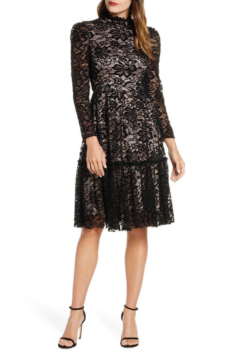 Long Sleeve Mock Neck Fit & Flare Lace Dress by Eliza J