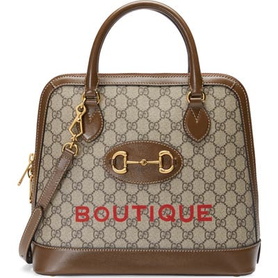 Gucci Medium 1955 Horsebit Boutique Gg Supreme Canvas Top Handle Bag - Beige