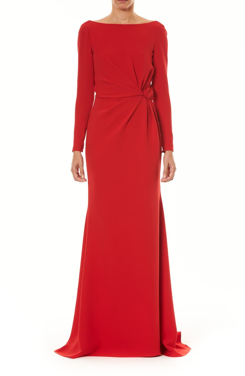 CAROLINA HERRERA Knot Long Sleeve Silk Column Gown, Main, color, 600