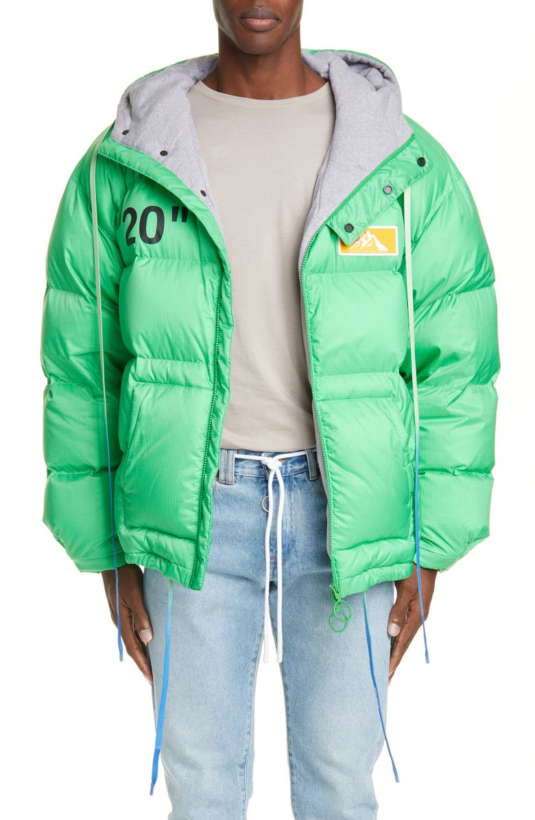 OFF-WHITE Hooded Down Puffer Coat, Main, color, 300