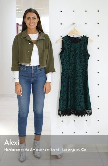 Bonded Floral Lace Sleeveless Fit & Flare Dress, sales video thumbnail