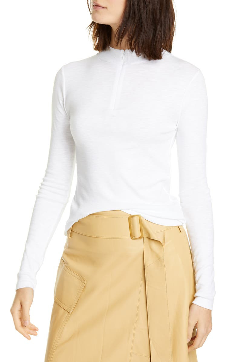 VINCE Half Zip Cotton Blend Sweater, Main, color, OPTIC WHITE