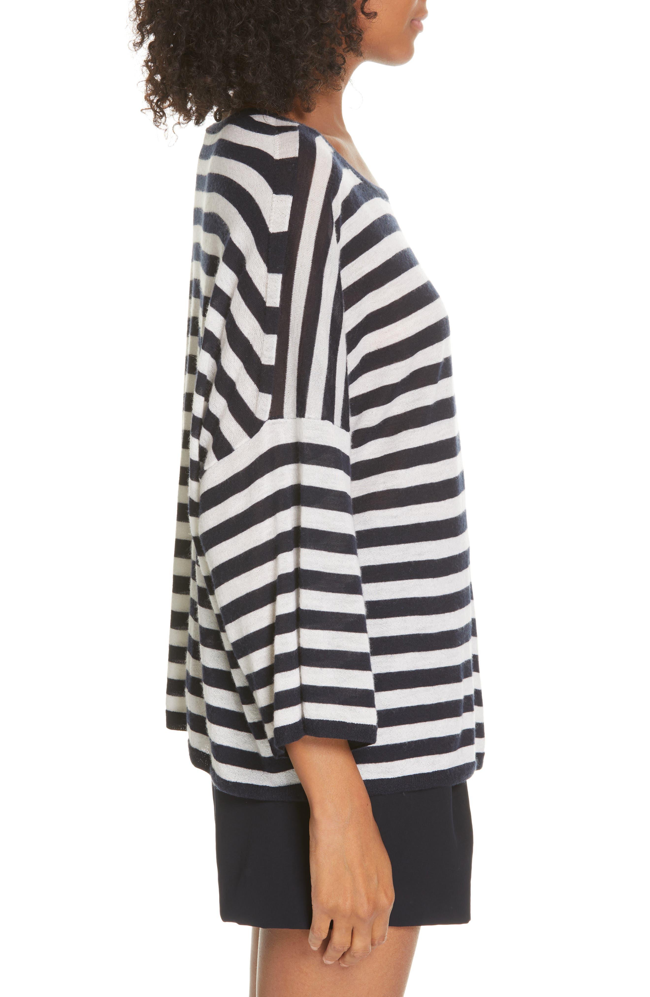 ,                             Stripe Boxy Wool & Cashmere Sweater,                             Alternate thumbnail 3, color,                             COASTAL/ CREAM