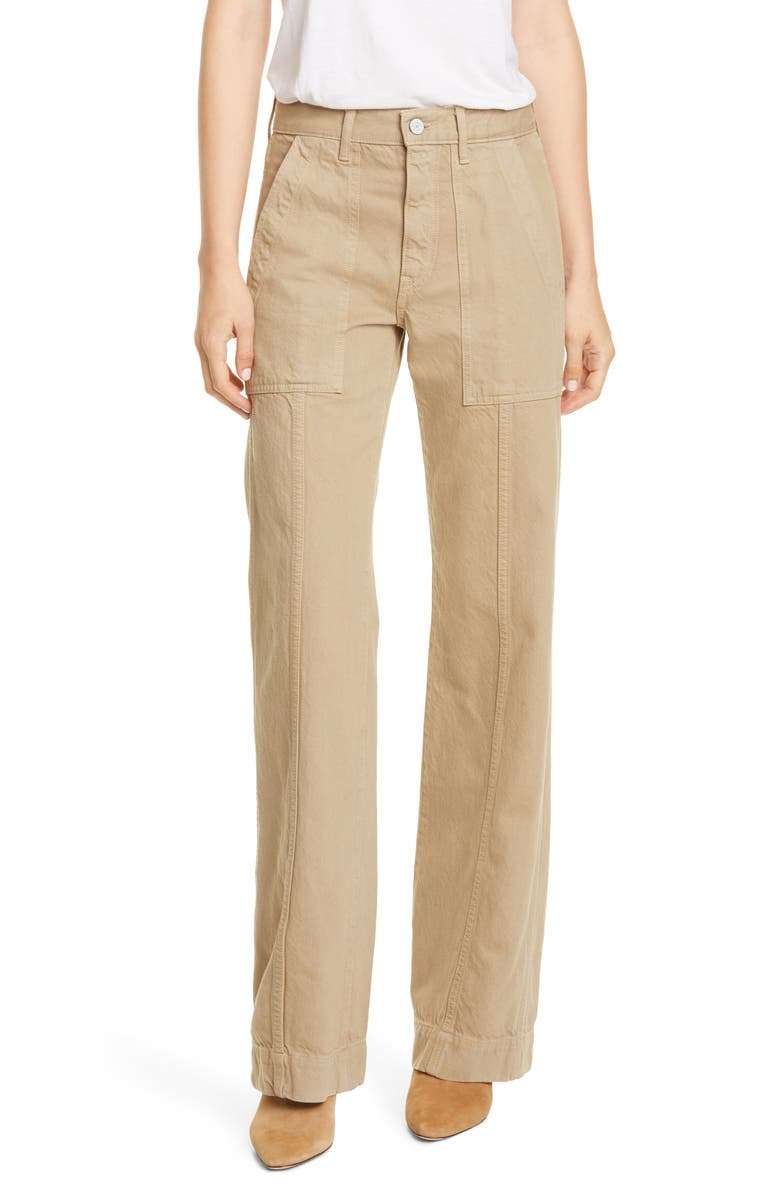 TRAVE Jacinda Wide Leg Utility Jeans, Main, color, WET SAND
