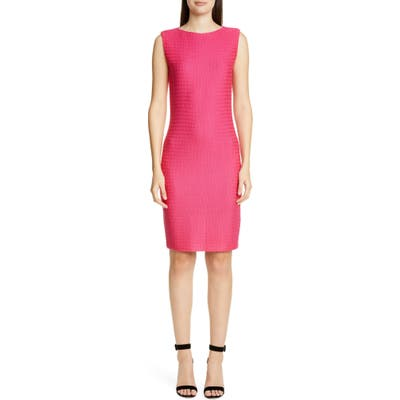 St. John Collection Texture Knit Wool Blend Sheath Dress, Pink