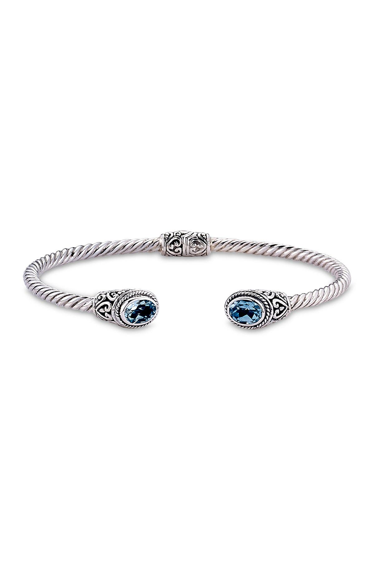 Image of Samuel B Jewelry Sterling Silver Blue Topaz Twisted Cable Bangle Bracelet