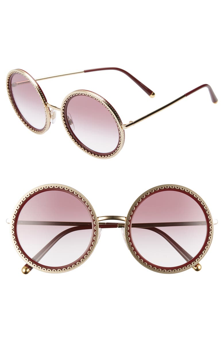 DOLCE&GABBANA Sacred Heart 53mm Gradient Round Sunglasses, Main, color, GOLD RED GRADIENT