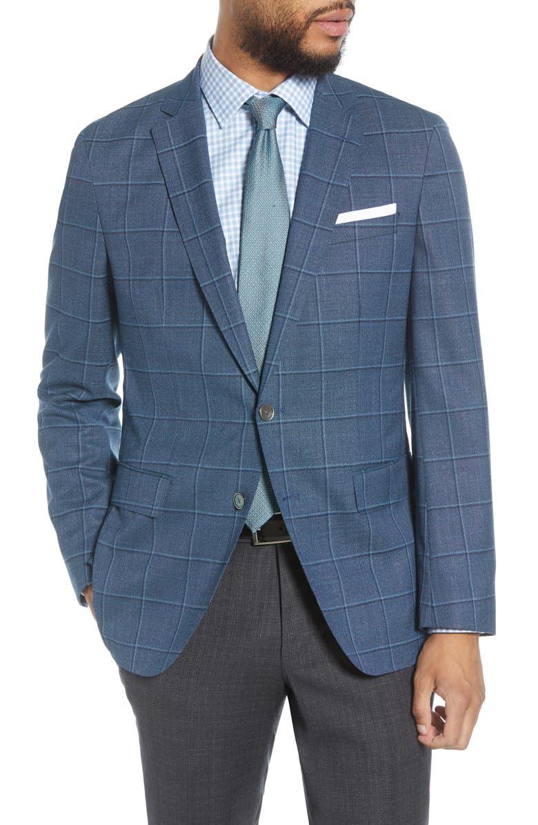 BOSS Hartlay Trim Fit Windowpane Wool Sport Coat, Main, color, 402