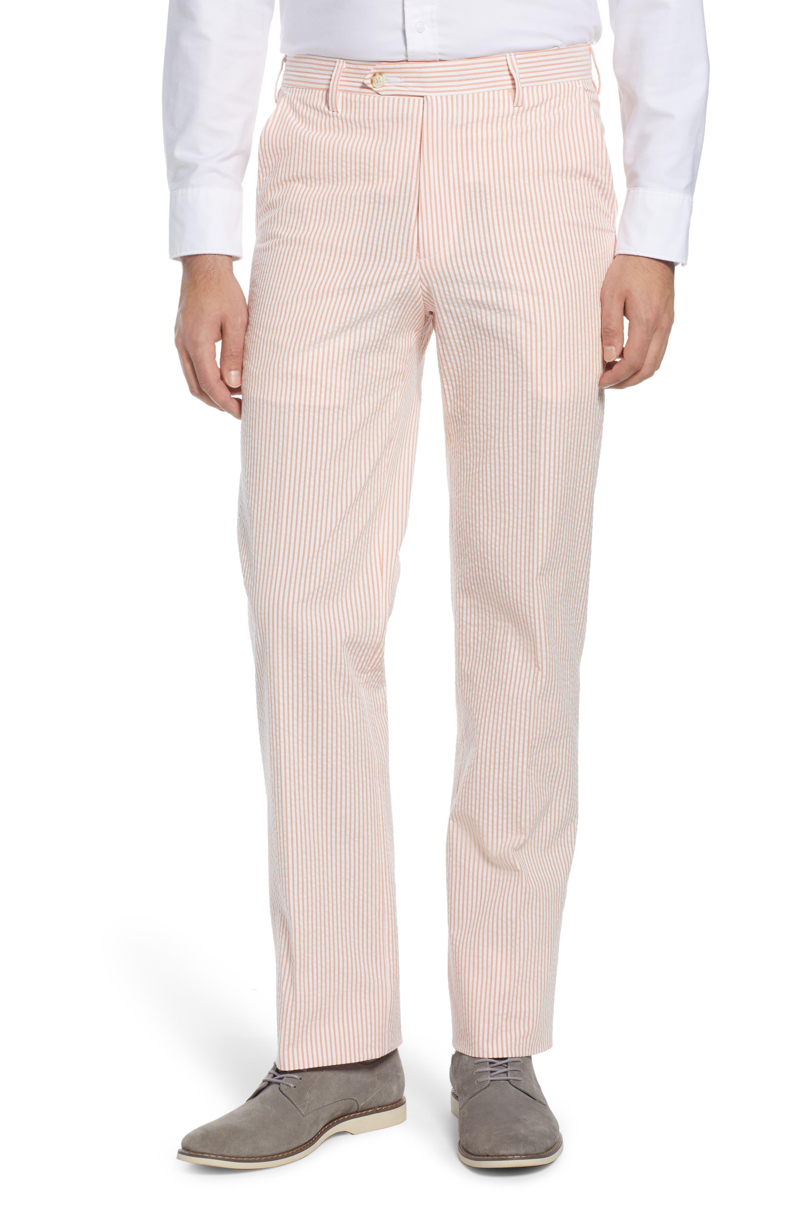 Flat Front Seersucker Pants
