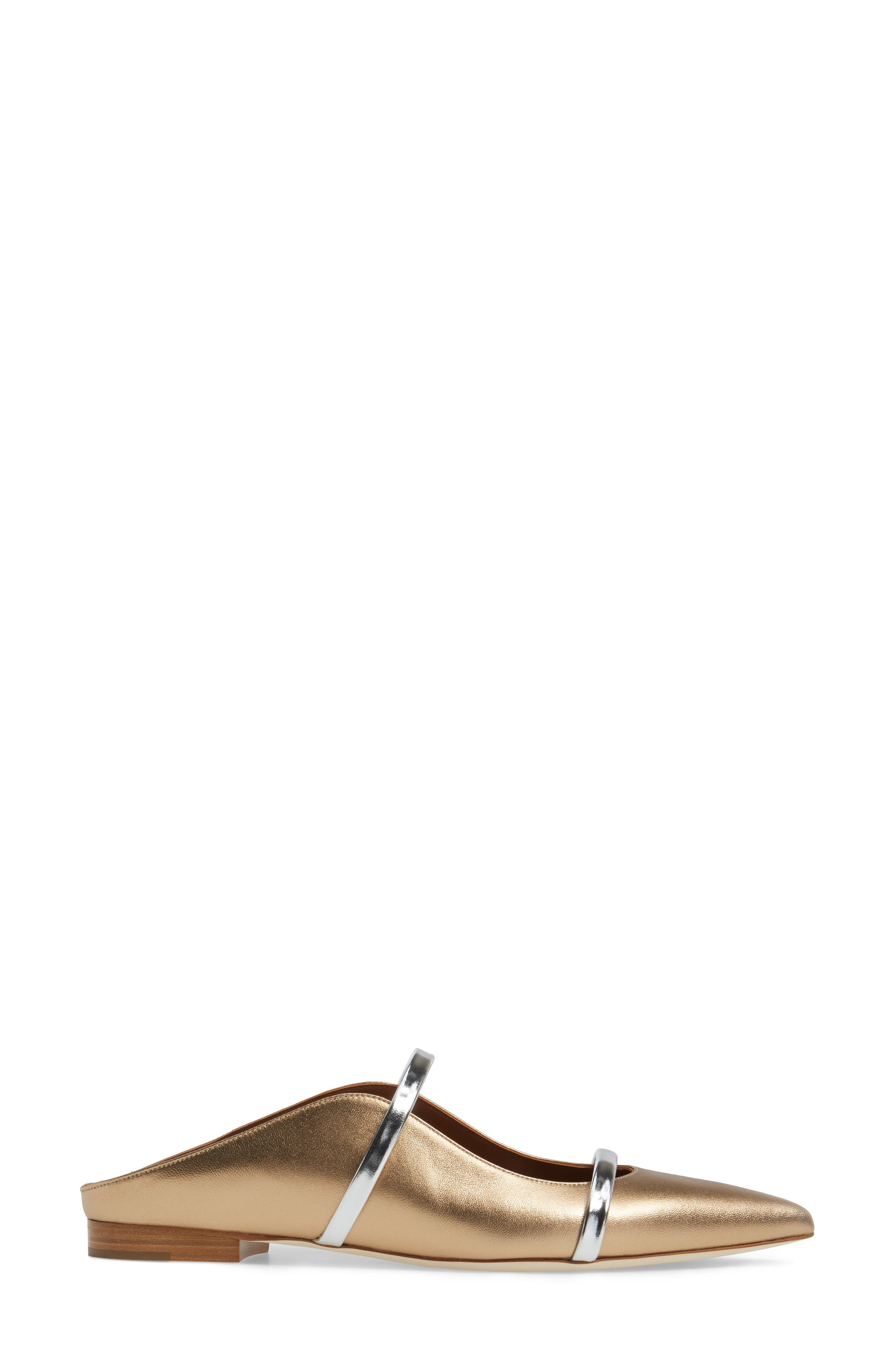 ,                             Maureen Pointy Toe Flat,                             Alternate thumbnail 3, color,                             GOLD/ SILVER