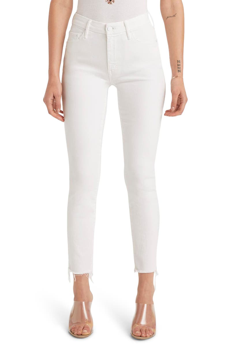MOTHER The Looker High Waist Fray Ankle Skinny Jeans, Main, color, FAIREST OF THEM ALL