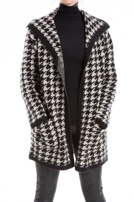 Image of Max Studio Houndstooth Intarsia Cardigan Coat