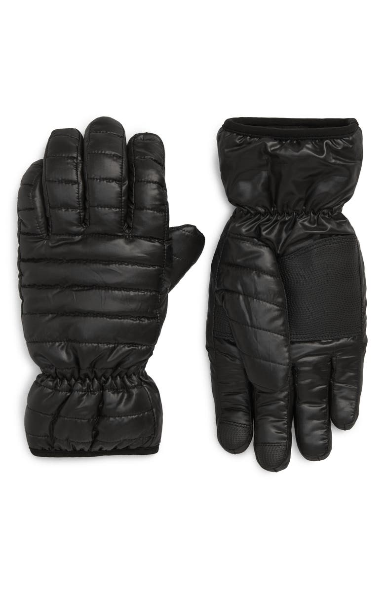 NORDSTROM MEN'S SHOP Puffer Touchscreen Gloves, Main, color, BLACK