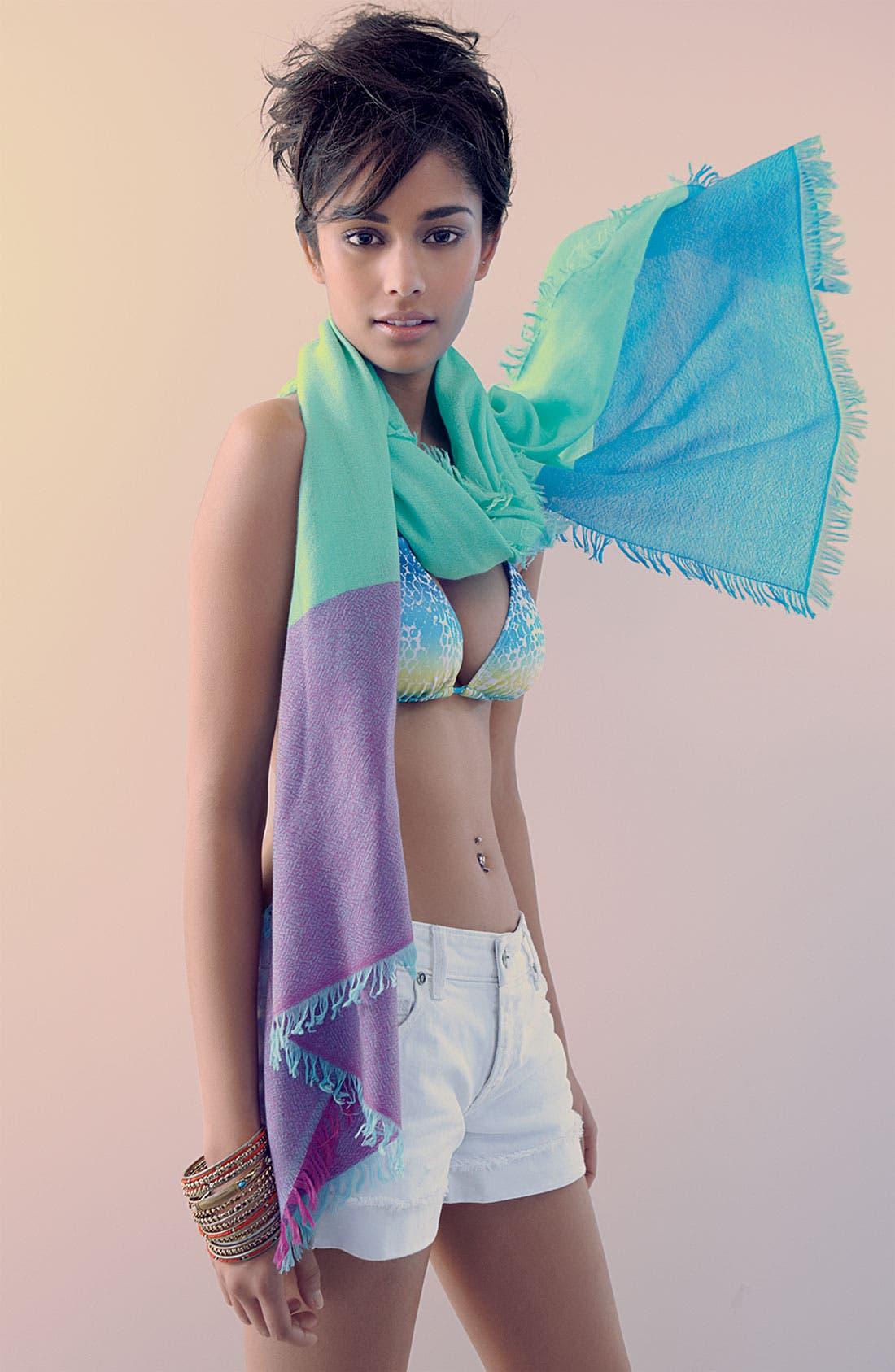 ,                             'Eyelash' Colorblock Cashmere Wrap,                             Alternate thumbnail 50, color,                             443