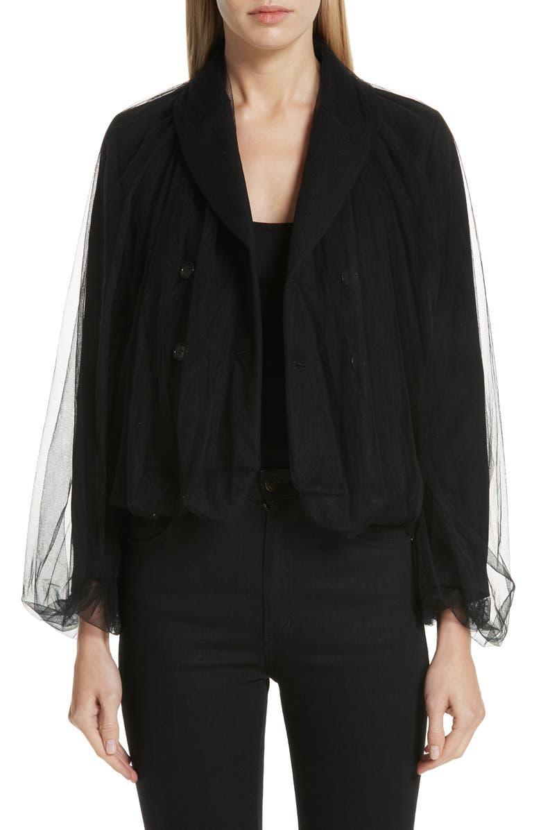 NOIR KEI NINOMIYA Tulle Overlay Wool Jacket, Main, color, 001