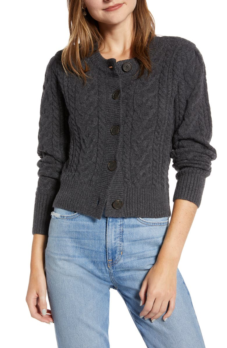SOMETHING NAVY Crewneck Cable Cardigan, Main, color, GREY DARK CHARCOAL HEATHER