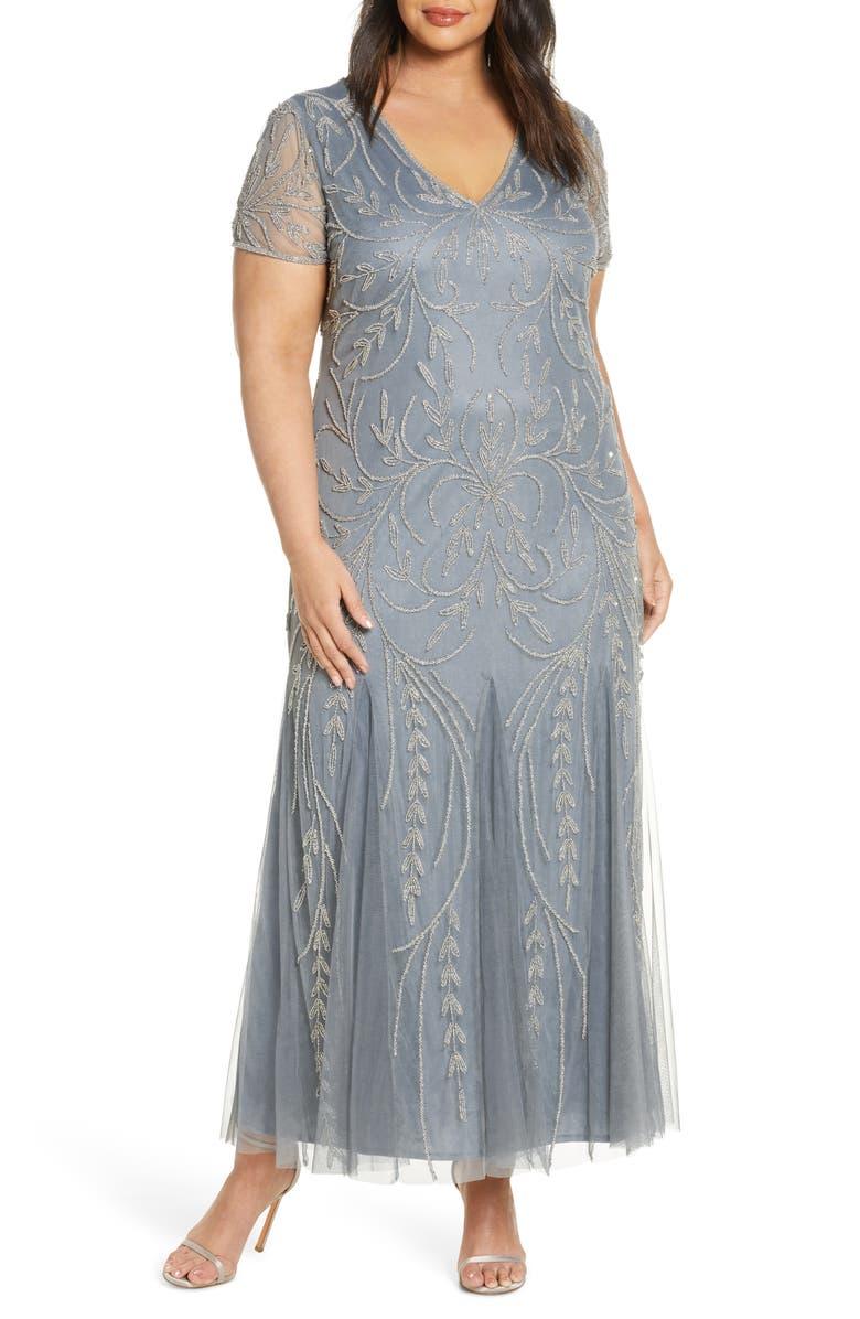 PISARRO NIGHTS V-Neck Embellished Mesh Gown, Main, color, LIGHT BLUE
