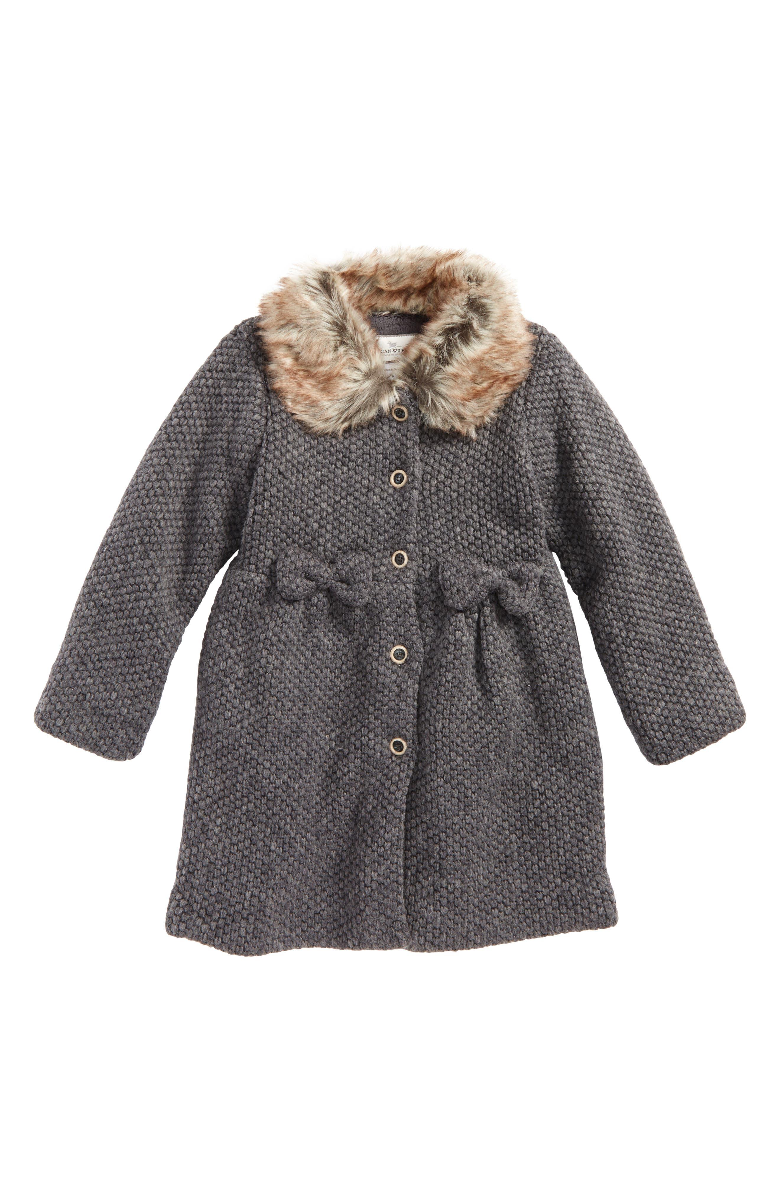 ,                             Faux Fur Collar Coat,                             Main thumbnail 3, color,                             030