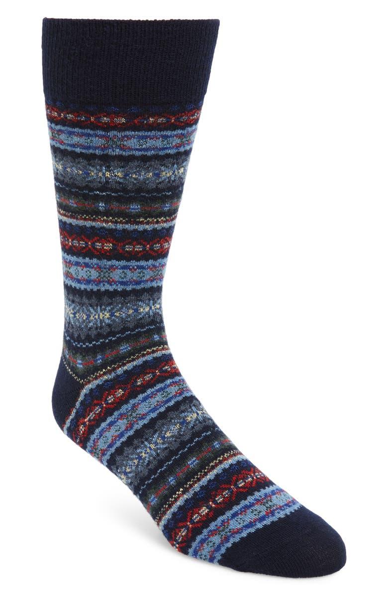 POLO RALPH LAUREN Fair Isle Socks, Main, color, NAVY