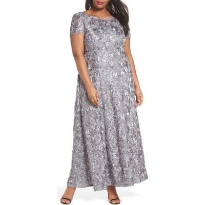 Plus Size Alex Evenings Rosette Lace Short Sleeve A-Line Gown, Grey
