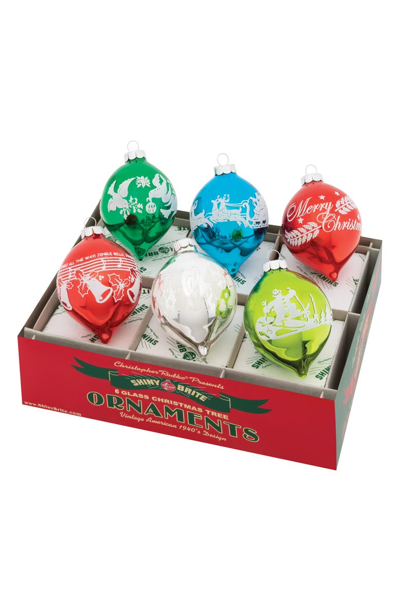 CHRISTOPHER RADKO Holiday Splendor Set of 6 Flocked Tulip Shape Ornaments, Main, color, MULTI