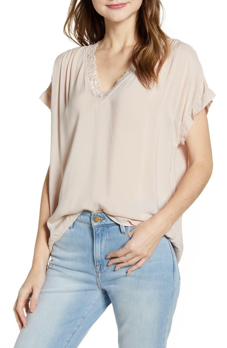 VELVET BY GRAHAM & SPENCER Lace Trim Short Sleeve Blouse, Main, color, 683