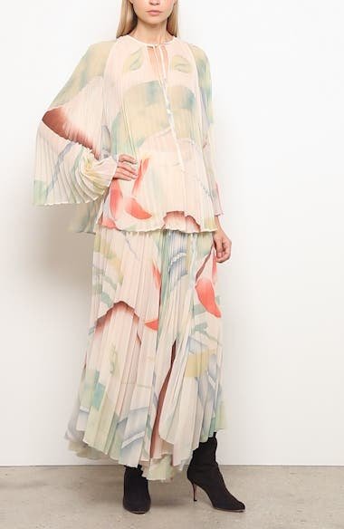 Watercolor Leaf Print Pleated Blouse, video thumbnail