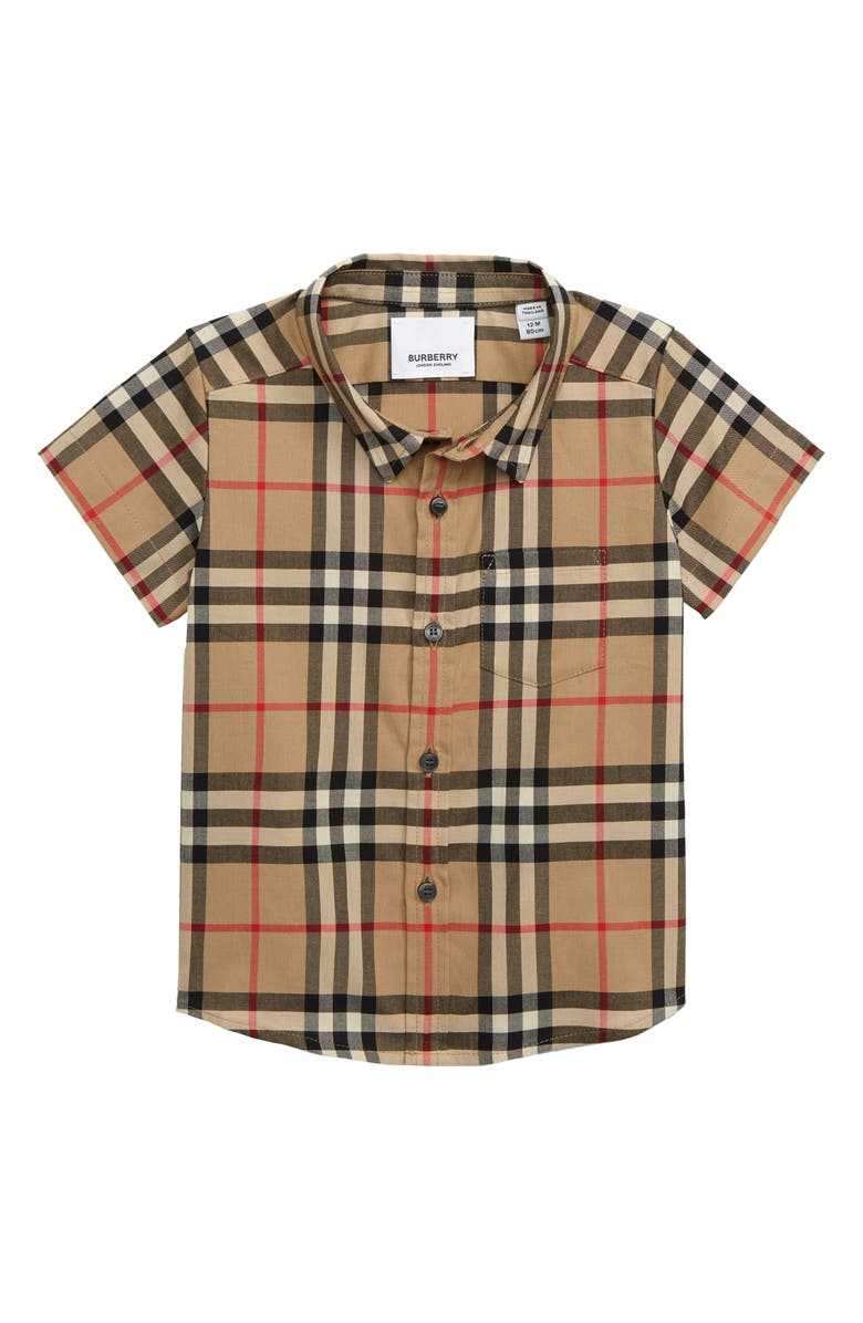 BURBERRY Fredrick Check Print Woven Shirt, Main, color, ARCHIVE BEIGE
