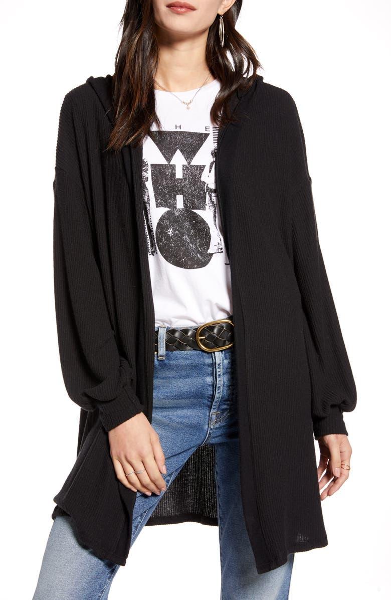 TREASURE & BOND Cozy Hooded Cardigan, Main, color, BLACK